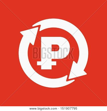 The currency exchange ruble icon. Cash and money, wealth, payment symbol. Flat Vector illustration