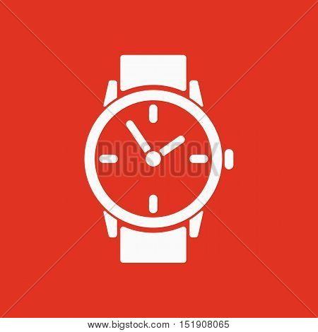 The watch icon. Clock and wristwatch, timer, time, stopwatch symbol. Flat Vector illustration