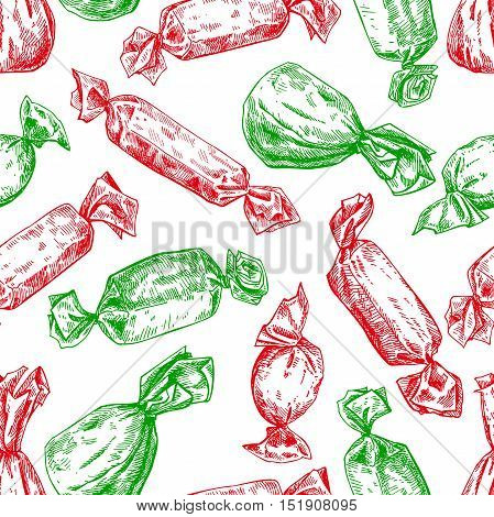 Candy seamless pattern in hand drawn style. Vector isolated background. Sweet food detailed sketch in red and green Christmas colors. Great for gift wrapping paper