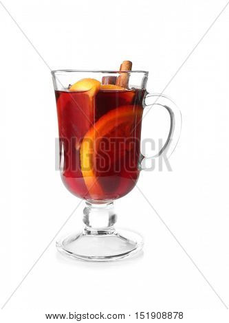 Glass cup of delicious Christmas mulled wine on white background