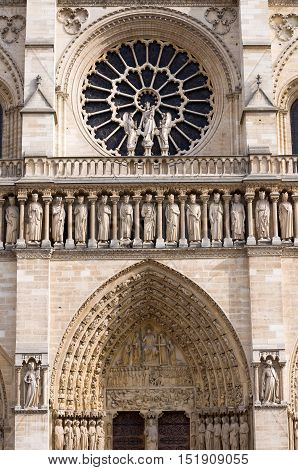 The Western Rose Window Of The Cathedral Notre-dame De Paris.