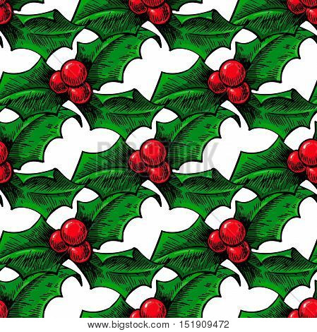 Christmas mistletoe, holly berry with leaves seamless pattern. Hand drawn vector background. Botanical Xmas decor element. Great for wrapping paper and holiday decoration.