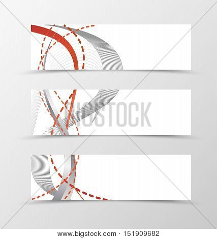 Set of banner smooth design. Banner for header with black and dashed red lines. Design of banner in wavy style. Vector illustration