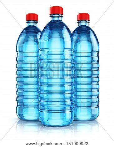 3D render illustration of the group of three blue plastic bottles with clear purified drink carbonated water isolated on white background with reflection effect