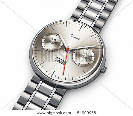 3D render illustration of stainless steel luxury digital smart watch or clock with color screen interface and titanium bracelet isolated on white background