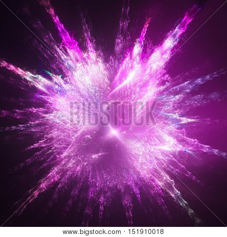 Explosion paint drops. Shining supernova. 3D surreal illustration. Sacred geometry. Mysterious psychedelic relaxation pattern. Fractal abstract texture. Digital artwork graphic astrology magic