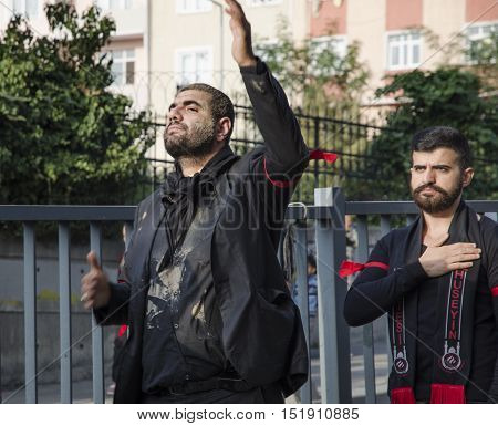 Istanbul Turkey - October 11 2016: Muslims worldwide marks Ashura Istanbul Shiite community. Caferis take part in a mourning procession marking the day of Ashura in Istanbul's Kucukcekmece district Turkey on October 11 2016. Caferi Muslims are observing t
