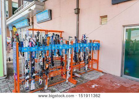 Rental Equipment For Skiers At Vivaldi Park Ski Resort
