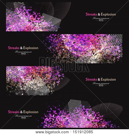 Streaks and explosion creative pattern banner collection