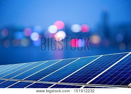 Urban landscape as the background of the solar panel