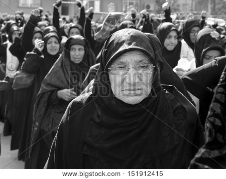 Istanbul Turkey - October 11 2016: Muslims worldwide marks Ashura Istanbul Shiite community. Caferis take part in a mourning procession marking the day of Ashura in Istanbul's Kucukcekmece district Turkey on October 11 2016.