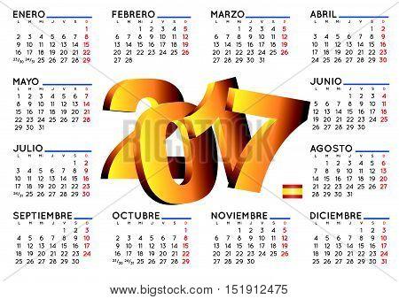 2017 Calendar In Spanish Horizontal White