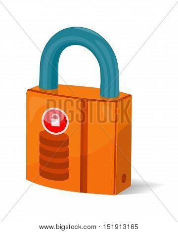 Data storage sign symbol icon. Lock isolated on white. Security concept. Database with padlock. IT security protected computer server. Render of safe storage aspect. Saving the information. Vector