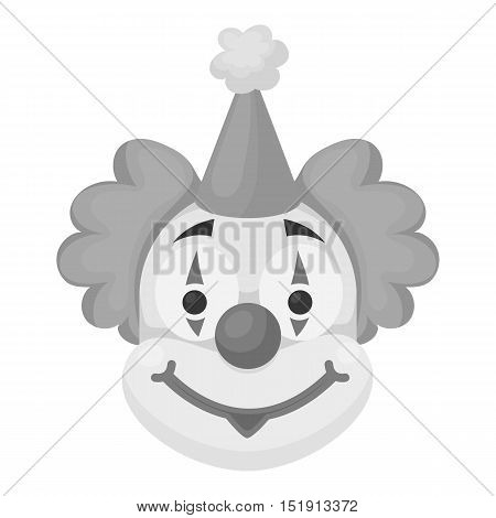 Clown icon in monochrome style isolated on white background. Circus symbol vector illustration.