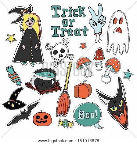 Cute embroidery putches and stickers collection. Halloween. Hand drawn vector sketches. Witch, bat, ghost, skull, broom, magic potion, stars, candy, hand written text trick or treat.