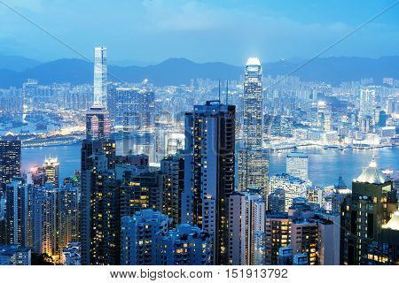A night view of the Victoria Harbor in Hong Kong, China