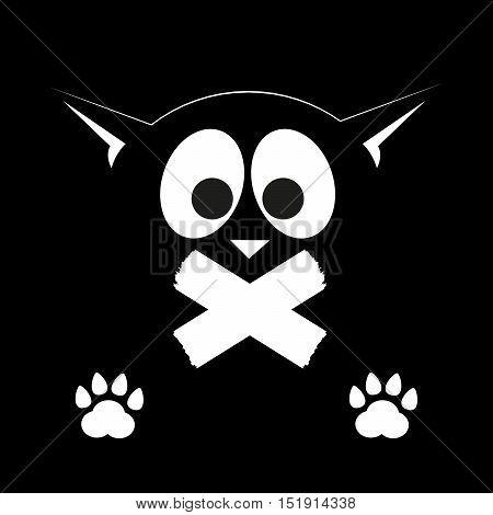 Black cat on a black background. Silent