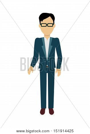 Male character without face in suit vector in flat design. Man template personage figure illustration for invite concepts, mobile app pictogram, logos, infographic. Isolated on white background.