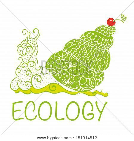 Snail, made in the Doodle style with the words Ecology