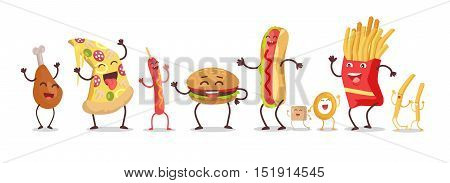 Set of fast food products for restaurants menu illustrating, diet concepts. Smiling and dancing pizza, hot dog, chicken thigh, hamburger, french fries, onion ring, sugar cartoon vectors in flat design