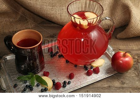 Fruit Compot In Glass Jug And Ceramic Cup On Tray.