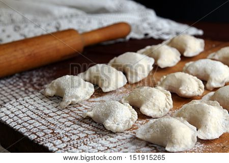 Homemade Pierogi Vareniki - Filled Dumpling, Traditional East European Food Before Boiling.