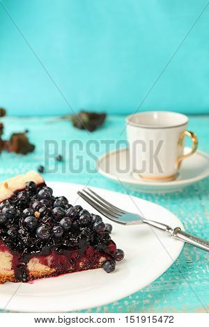 Slice Of Bilberry Cake