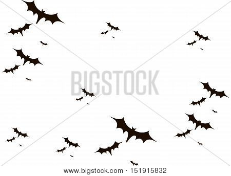 Halloween background. Bats black isolated on white. Vector illustration EPS 10