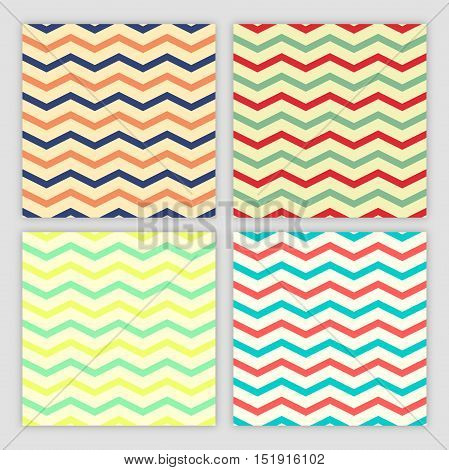 Collection of Four Chevron Seamless Patterns. Vector illustration four color variants to choose.