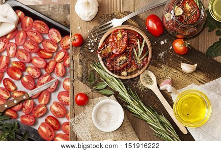 Preparation Dried Tomatoes.