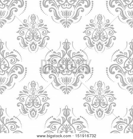 Seamless classic vector silver pattern. Traditional orient ornament