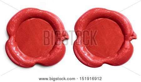 Red wax seal isolated set