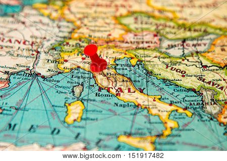 Florence, Italy Pinned On Vintage Map Of Europe
