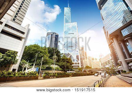 Hong Kong, China Modern high-rise buildings and streets