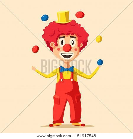 Happy circus clown. Cartoon vector illustration. Man juggling balls. Circus show. Vintage style.