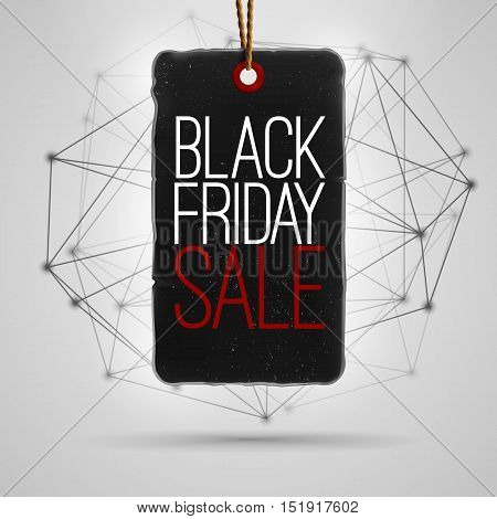 Black friday 2017 big sale . Vector realistic black paper price tag , label ,banner , badge. Triangle  connection background with realistic shadow . Modern sale illustration .
