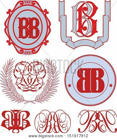 Set Of Bb Monograms And Emblem Templates