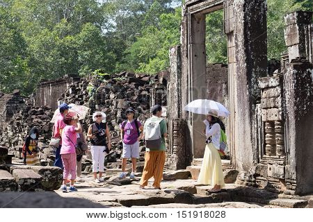 SIEM REAPCAMBODIA-OCT 14 : Tourist visited at Angkor Thom October 14 2016 Siem ReapCambodia.