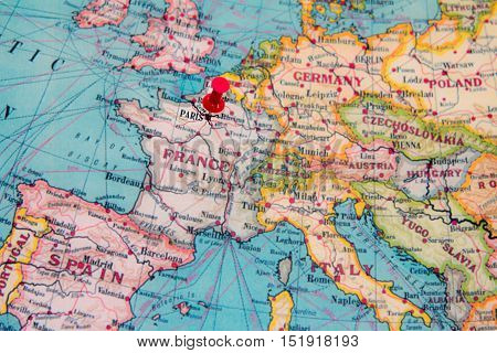 Paris On Europe Map.Paris France Pinned On Vintage Map Of Europe Poster Id 151918193