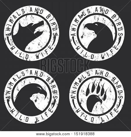Vintage Grunge Labels With Animals And Birds Negative Space Concept