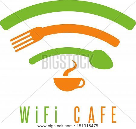 wi-fi cafe simple illustration with cup of coffee spoon and fork