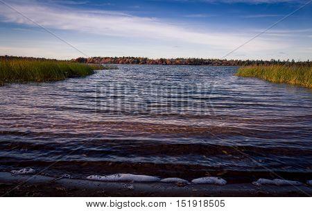 Small lake in Prince Edward Island in the fall season