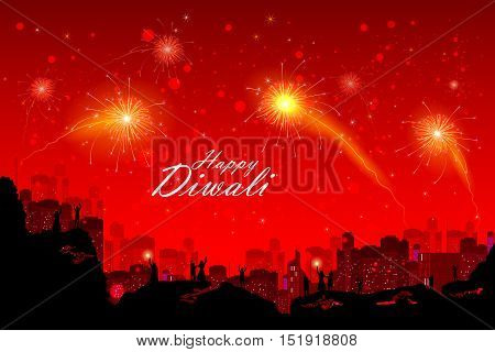 easy to edit vector illustration of people watching fireworkin Happy Diwali night sky for India festival
