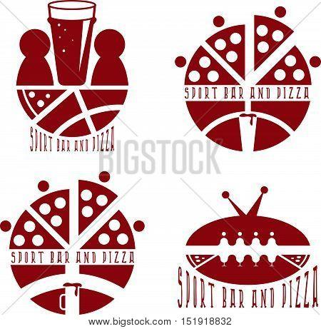 Vintage Labels Set Of Sport Bar And Pizza