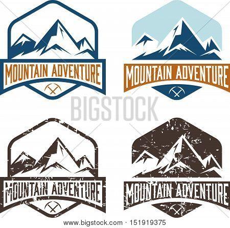 set of vector vintage labels mountain adventure