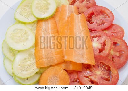 super vegetable health care skin and lose weight is tomato carrot and cucumber