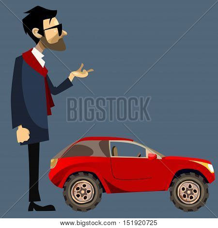 cartoon man in suit beside a small red SUV