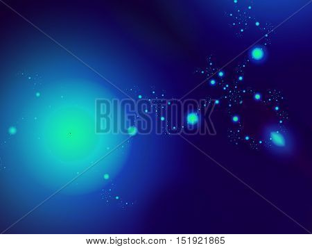 Digital fractal image in beautiful shades of blue creating the illusion of deep space planetary system with planets and stars fading into infinity
