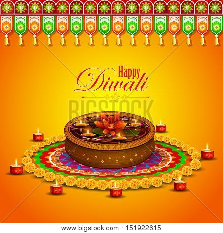 easy to edit vector illustration of decorated diya for Happy Diwali holiday background