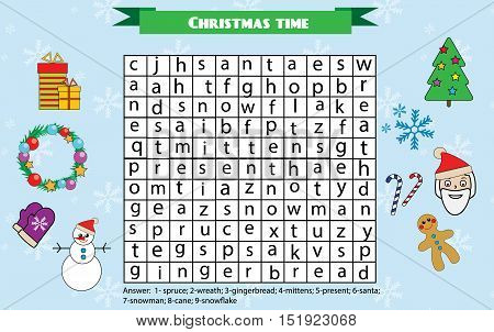 Word search puzzle kids activity sheet. Christmas winter holidays theme. Find words children educational game. Learning vocabulary